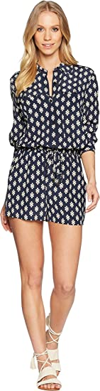 7250e21c0763 Tory Burch Swimwear Women s Double Diamonds Brigette Romper Cover-Up Tory  Navy X-Large at Amazon Women s Clothing store