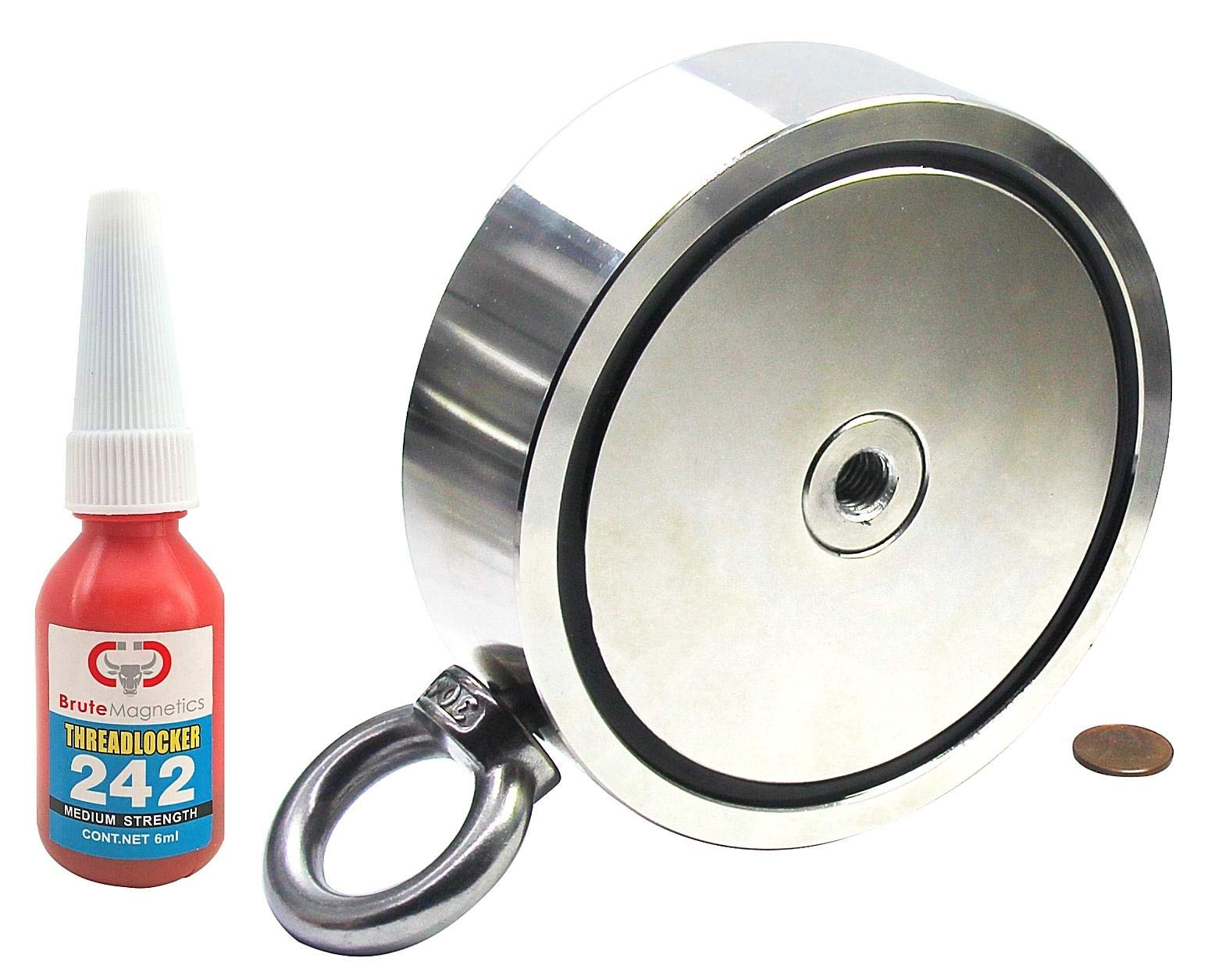 3,600 LBS (Combined) Pulling Force Double Sided Round Neodymium Magnet with Eyebolt, 5.31'' Diameter Retrieving Magnet