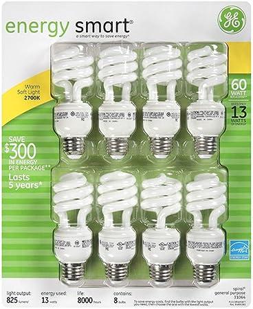 Ge 13 Watt Energy Smart Fluorescent Light Bulbs 8 Pack 60 Watt
