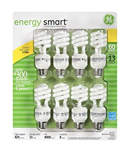 GE 13-Watt Energy Smart Fluorescent Light Bulbs, 8 Pack, 60 Watt Replacement