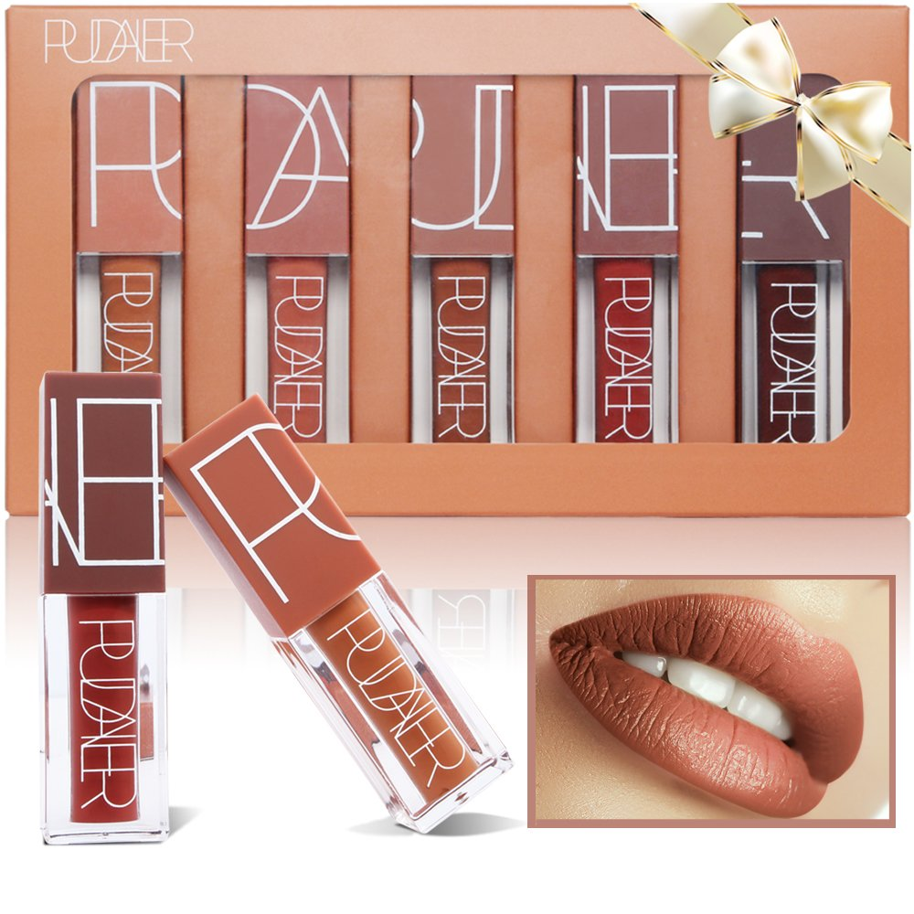 5 Colors Matte Lipstick Set, PrettyDiva Long Lasting Velvet Liquid Lipstick Natural Waterproof Nude Sexy Lip Gloss Cosmetics Kit