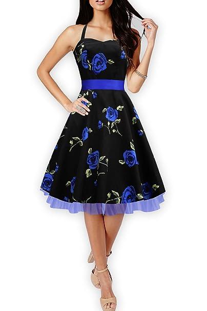 BlackButterfly Rhya Vestido Vintage Infinity Años 50 (Grandes Rosas Azules, ES 36