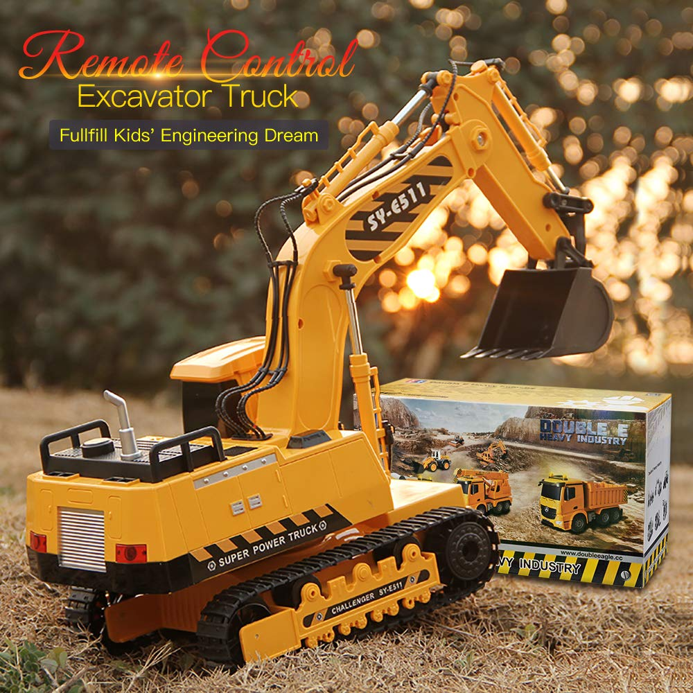 DOUBLE  E Remote Control Excavator Toys Fully Functional Construction Tractor, Rechargeable Rc Excavator 1:20 RC Excavator Truck with Lights & Sounds 2.4Ghz Transmitter, White by DOUBLE  E (Image #7)