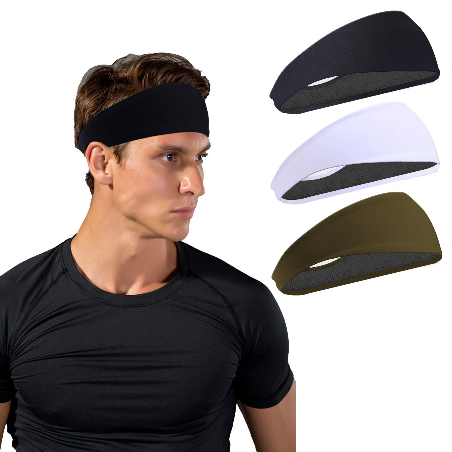 JOEYOUNG Sport Headbands for Men and Women - Mens Headband, Workout Sweatband Headband for Running, Yoga, Fitness, Gym - Performance Stretch/Lightweight (A-3pcs-black+White + Army Green)