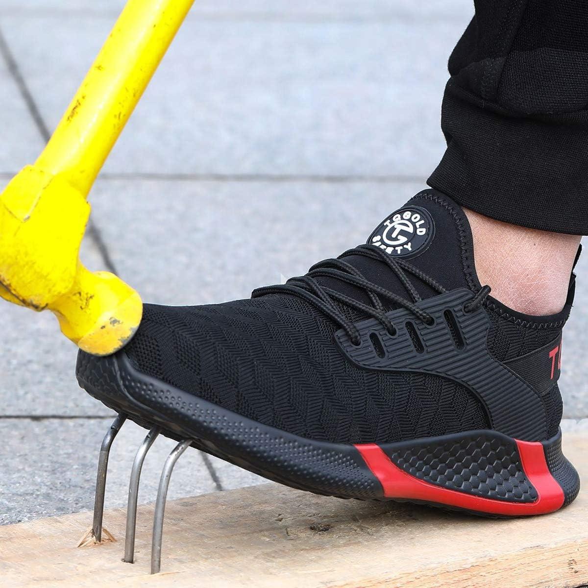 tqgold/® Zapatos de Seguridad Hombres Calzado con Puntera de Acero Calzado de Trabajo Liviano Entrenador Calzado Transpirable Industrial y de Construcci/ón