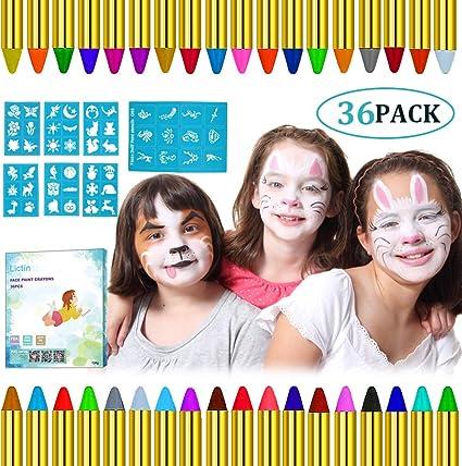 Lictin Pintura de Cara para Niños- 36 Colores Pintura Facial y 48 pcs Pegatinas, Kit Pintura Facial Seguro para Navidad Halloween Fiesta y Party, 12 Colores fluorescentes y 6 Colores Metálicos: Amazon.es: Belleza