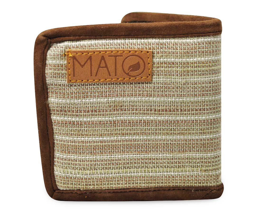 Mato Mens Hemp Wallet Slim Bifold Brown Zipper Purse Suede Lining Front Pocket