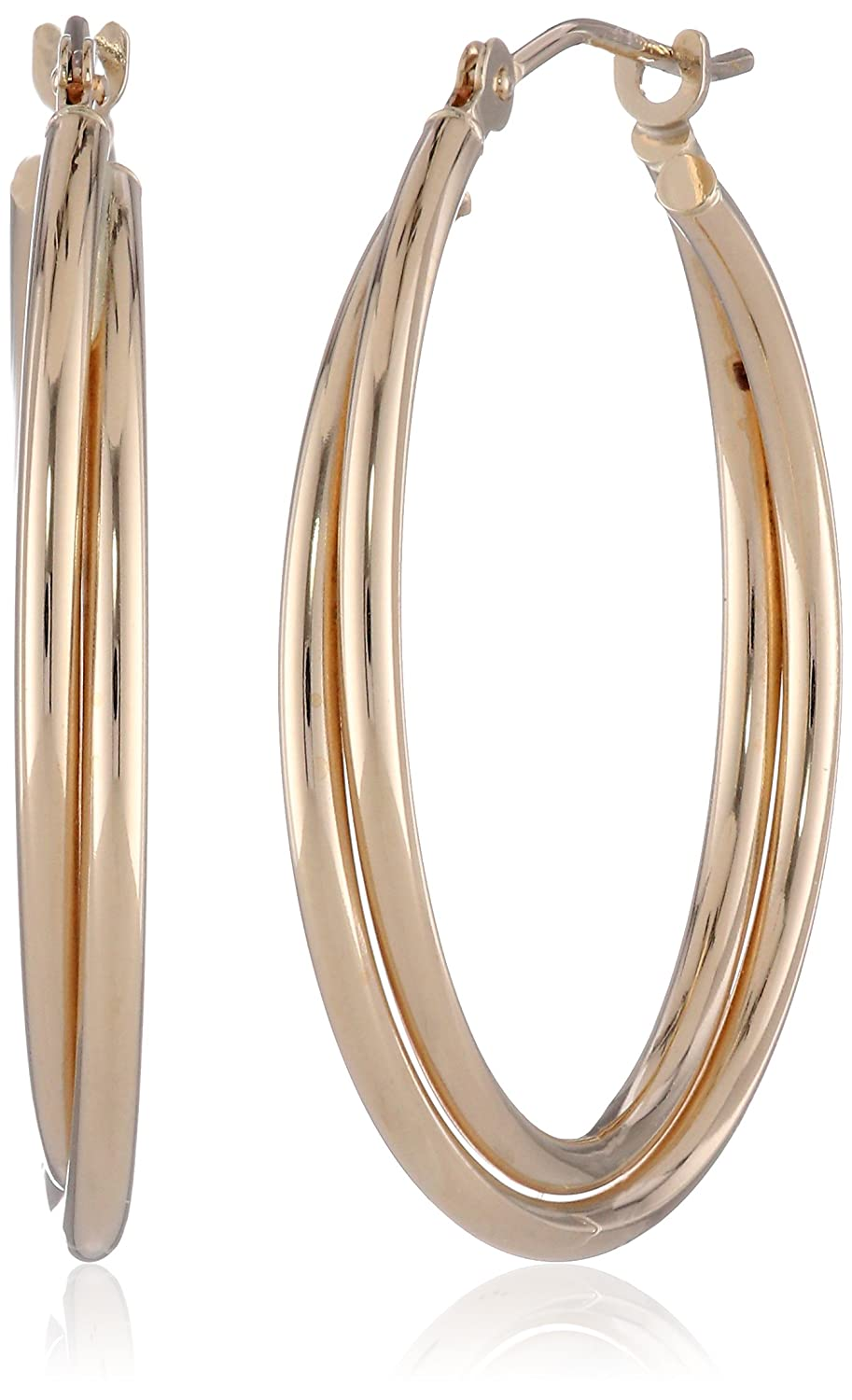 Amazon.com: 14k Yellow Gold Double Hoop Earrings: Hoop Earrings For ...