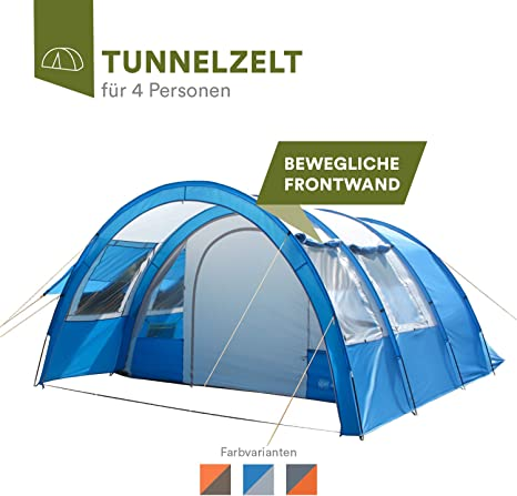 Skandika Kemi family Tunnel Tent with Moveable Front Wall, 2 Sleeping Cabins and a 3000 mm Water Column, 4 PersonMan