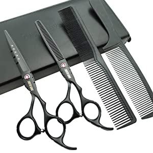 6.0 inches black Hair Cutting Thinning Scissors Set with Case Combs for Professional & Personal