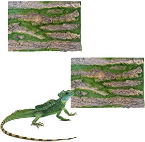 Tfwadmx Reptile Tank Background,Terrarium Tree Bark Cork Background Tank Backdrop Wall Decor for Gecko Lizard Turtle Beared Dragon Frog Chameleon-(2Pcs).
