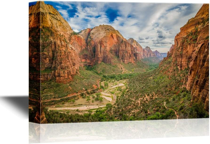 wall26 - USA Landmarks Canvas Wall Art - Magical Landscape from Zion National Park Utah - Gallery Wrap Modern Home Decor | Ready to Hang - 32x48 inches