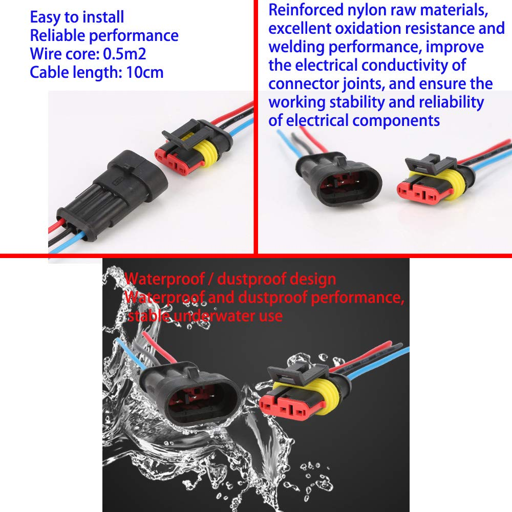 5 Pin with Wire /× 2 Kit. Waterproof Electrical Terminal KINYOOO Car Wire Connector 3 Pin with Wire /× 2 Kit Plug for Auto Motorcycle Scooter Truck Marine Plug Socket Kit 2 Pin with Wire /× 2 Kit