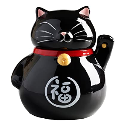 Beautiful Amazon.com: Waving Lucky Cat Cookie Jar Ceramic with Air Tight Lid  CH66