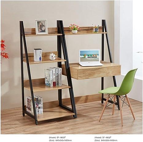 Estantería Moderna escandinava Retro con Escalera y estantería de Escritorio de Roble de 4 Niveles: Amazon.es: Hogar