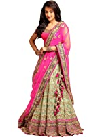Magneitta Women's Fashion Georgette and Net Lehenga Choli (93089_Multi-Coloured)