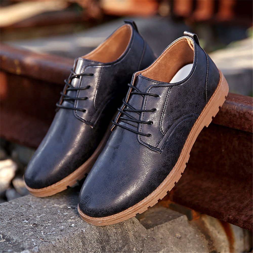 Männer - casual mode schuhe bei britischen stil leder schuhe passen locker schnürschuhe,schwarz,43
