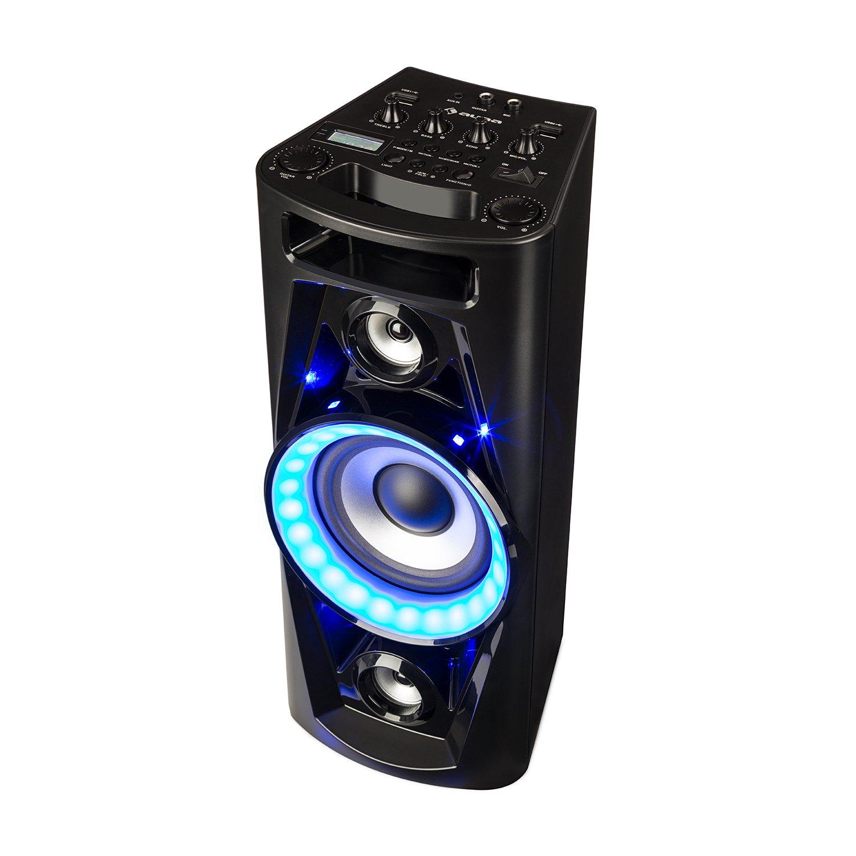 auna Clubmaster 8000 Equipo de Audio para Fiestas • Altavoz • Bluetooth • hasta 8000 W de Potencia • 2 Subwoofer de 10' • Sintonizador de Radio FM • USB • Iluminación LED • Mando a Distancia • Negro
