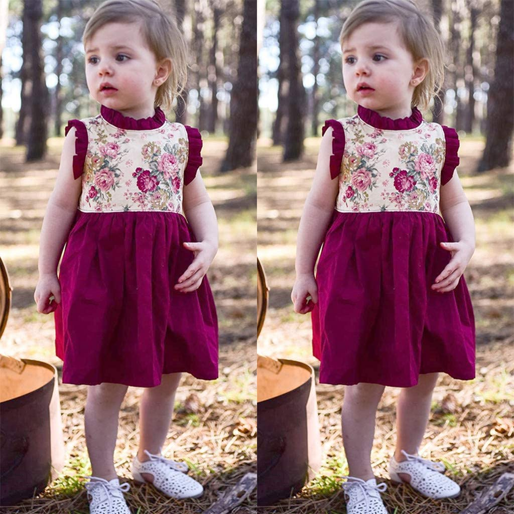 Cute Baby Girls Floral Printed Dress Transer Ruffles Sleeveless Sundress Toddler Kids Clothes Outfits 6M-4Y