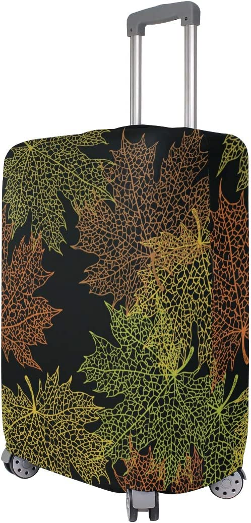 Travel Luggage Cover Yellow Green Orangemaple Leaves Suitcase Protector