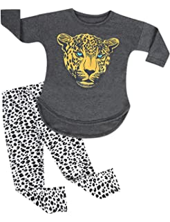 b19c09e6f Kidlove Kids Girls Leopard Pattern Tops +Pants Leggings Casual Clothes Set  Daily Wear