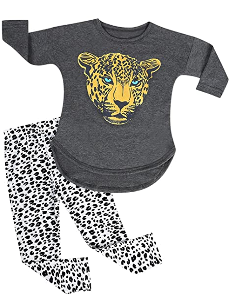 9e0215fddeec3 Amazon.com  Kidlove Kids Girls Leopard Pattern Tops +Pants Leggings ...