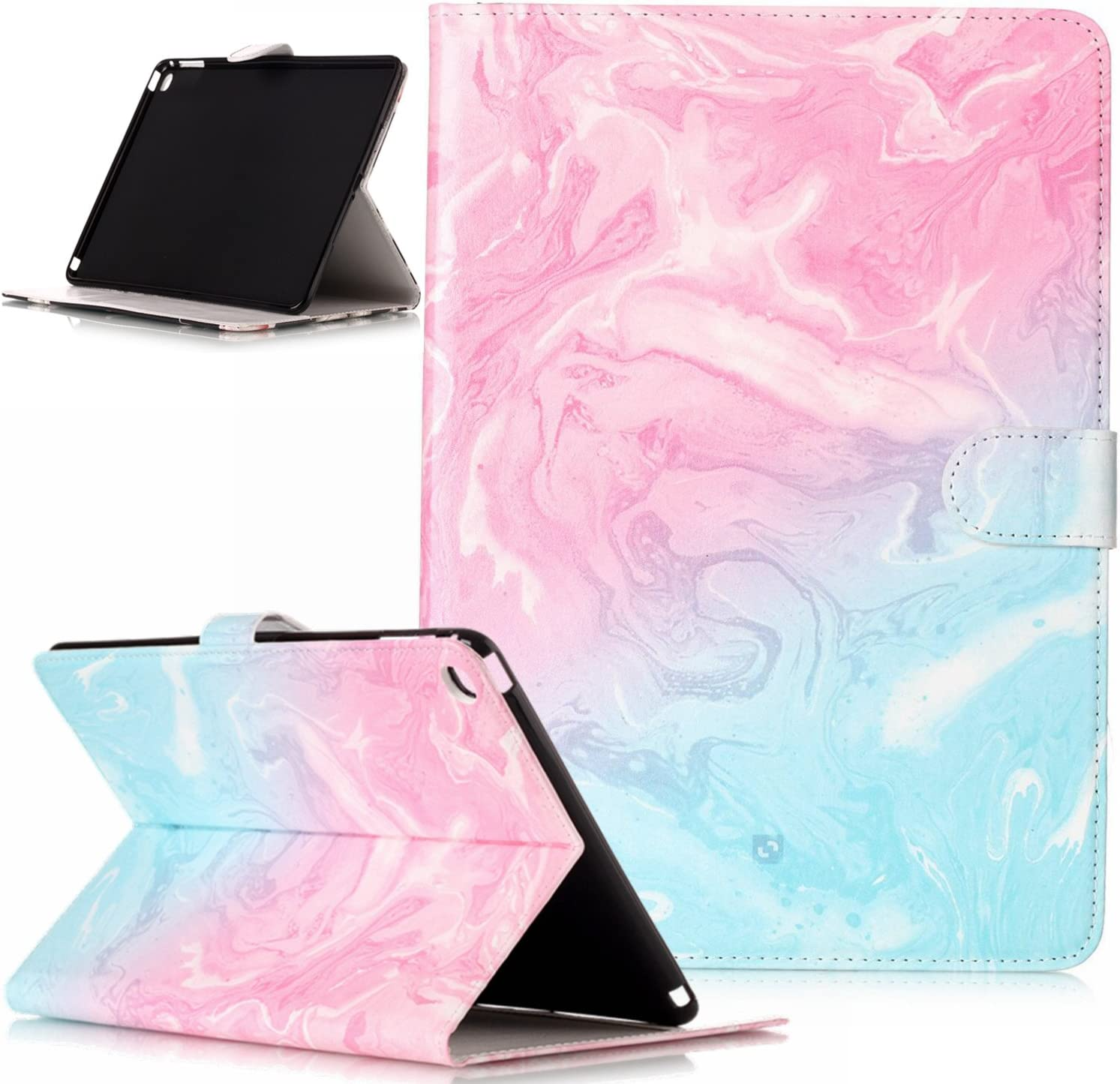 iPad Air 2 Case,ikasus Painted Marble PU Leather Fold Wallet Pouch Case Wallet Flip Cover Card Slots Stand Protective Case Cover for Apple iPad Air 2 ipad 6 Case Cover,Rose Gold Marble