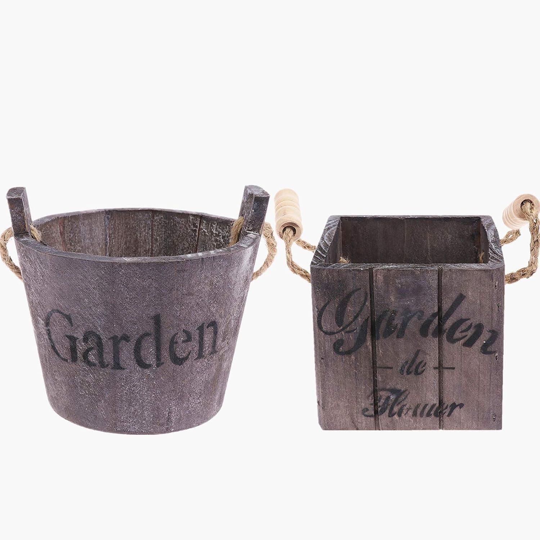 Uoeo 2 Pcs Wooden Bucket Planter, Rustic Flower Pot Succulent Planter Wood Barrels, Flower Planters Container for Indoor Outdoor Home Garden Decor