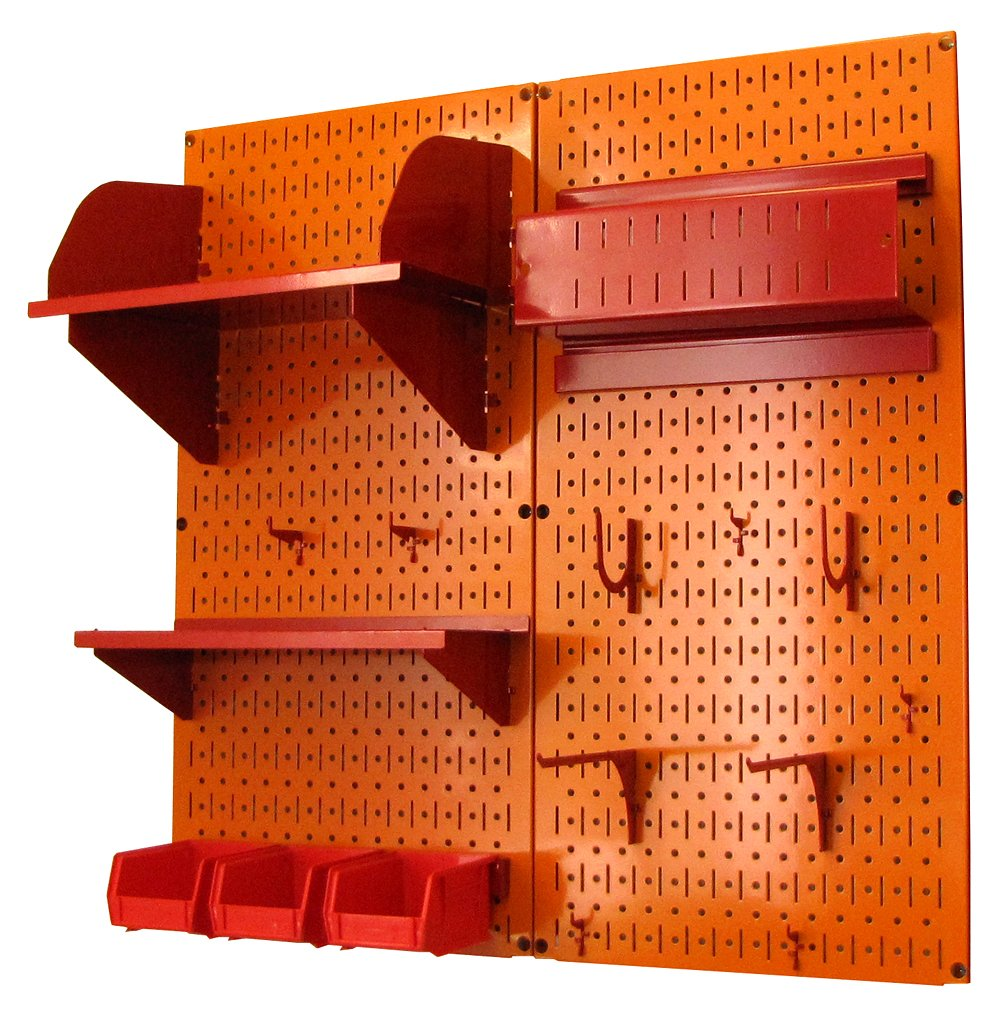Wall Control 30-CC-200 ORR Hobby Craft Pegboard Organizer Storage Kit with Orange Pegboard and Red Accessories