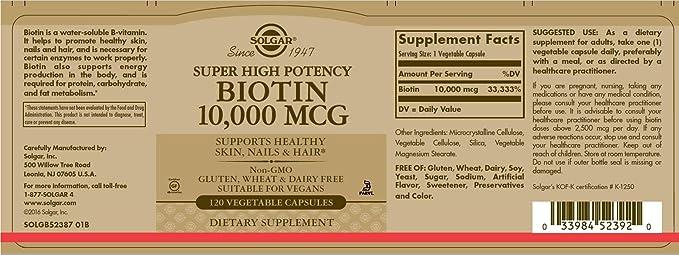 Biotina, de muy alta potencia, 10.000 mcg, 120 Caps Veggie - Solgar: Amazon.es: Salud y cuidado personal