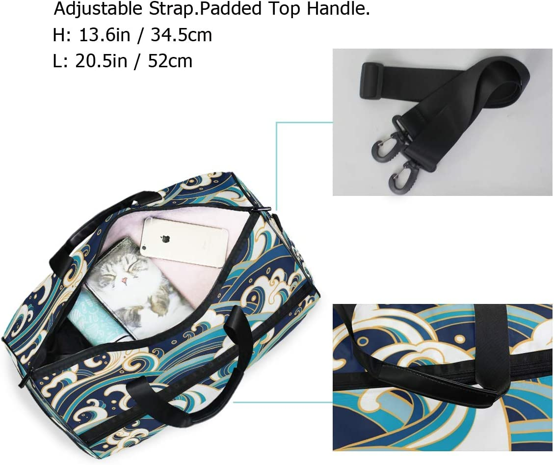 ALAZA Retro Japanese Navy Ocean Waves Sports Gym Duffel Bag Travel Luggage Handbag Shoulder Bag with Shoes Compartment for Men Women