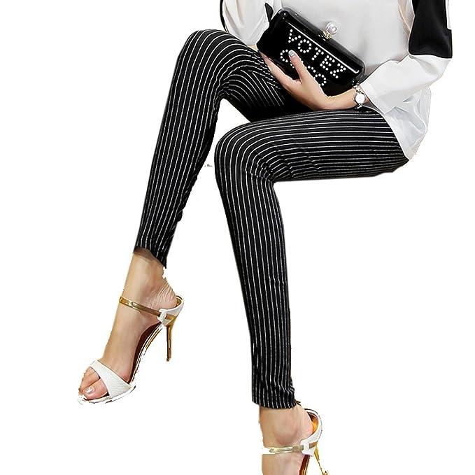 snfgoij Señoras Medias Leggings Cintura Alta Rayas Verticales Versión Coreana Pantalones Salvajes Thin Waichuan Nueve Pantalones: Amazon.es: Ropa y ...