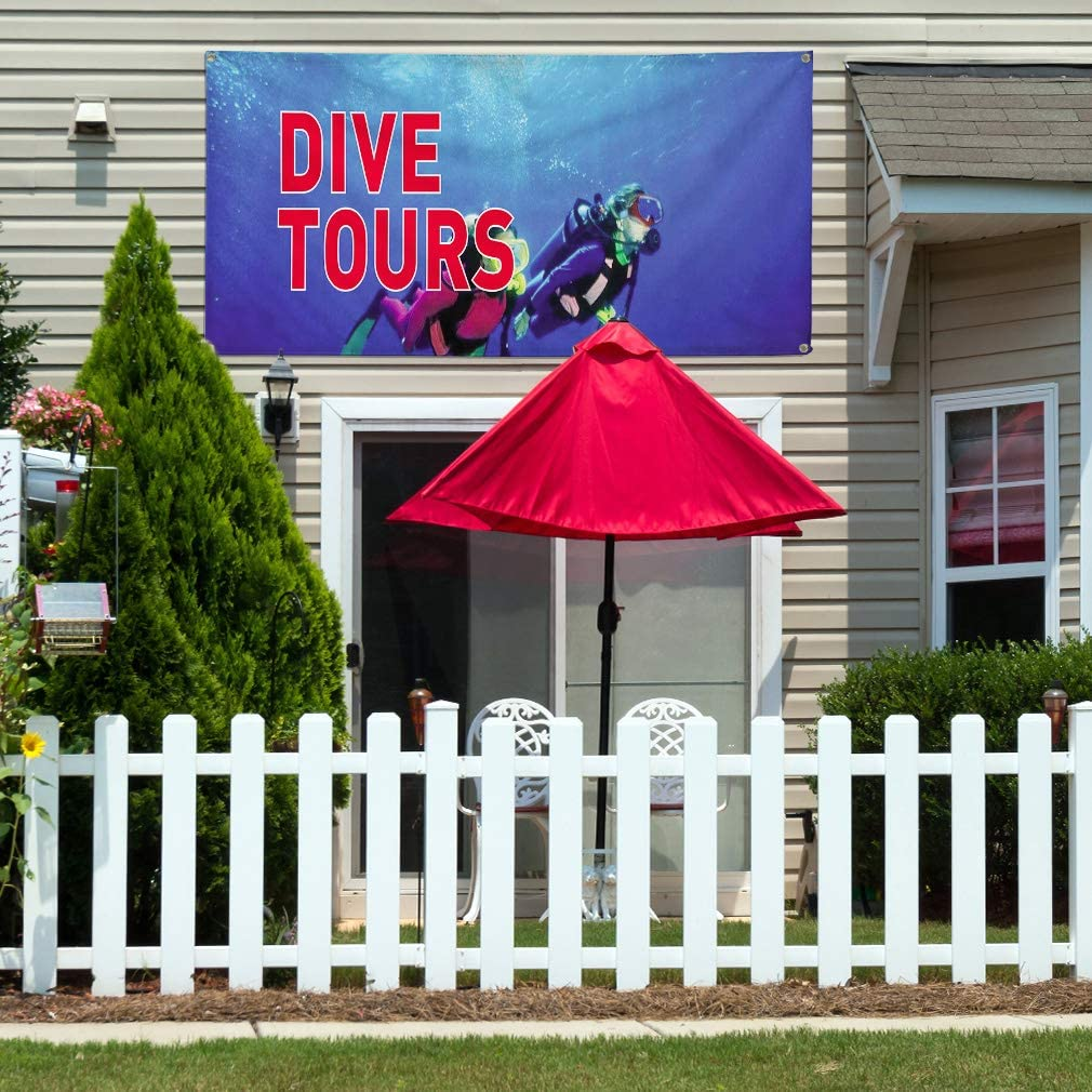 Vinyl Banner Multiple Sizes Dive Tours B Outdoor Advertising Printing Business Outdoor Weatherproof Industrial Yard Signs 8 Grommets 48x96Inches