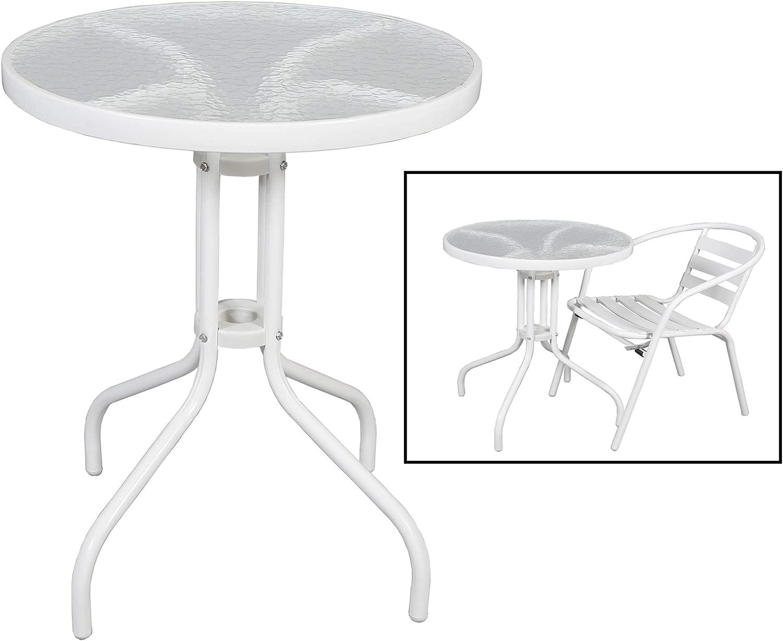 Mesa con Base de Metal Blanca y Cristal Ideal para jardín HOGAR | (Diámetro 60 x 70 cm): Amazon.es: Jardín