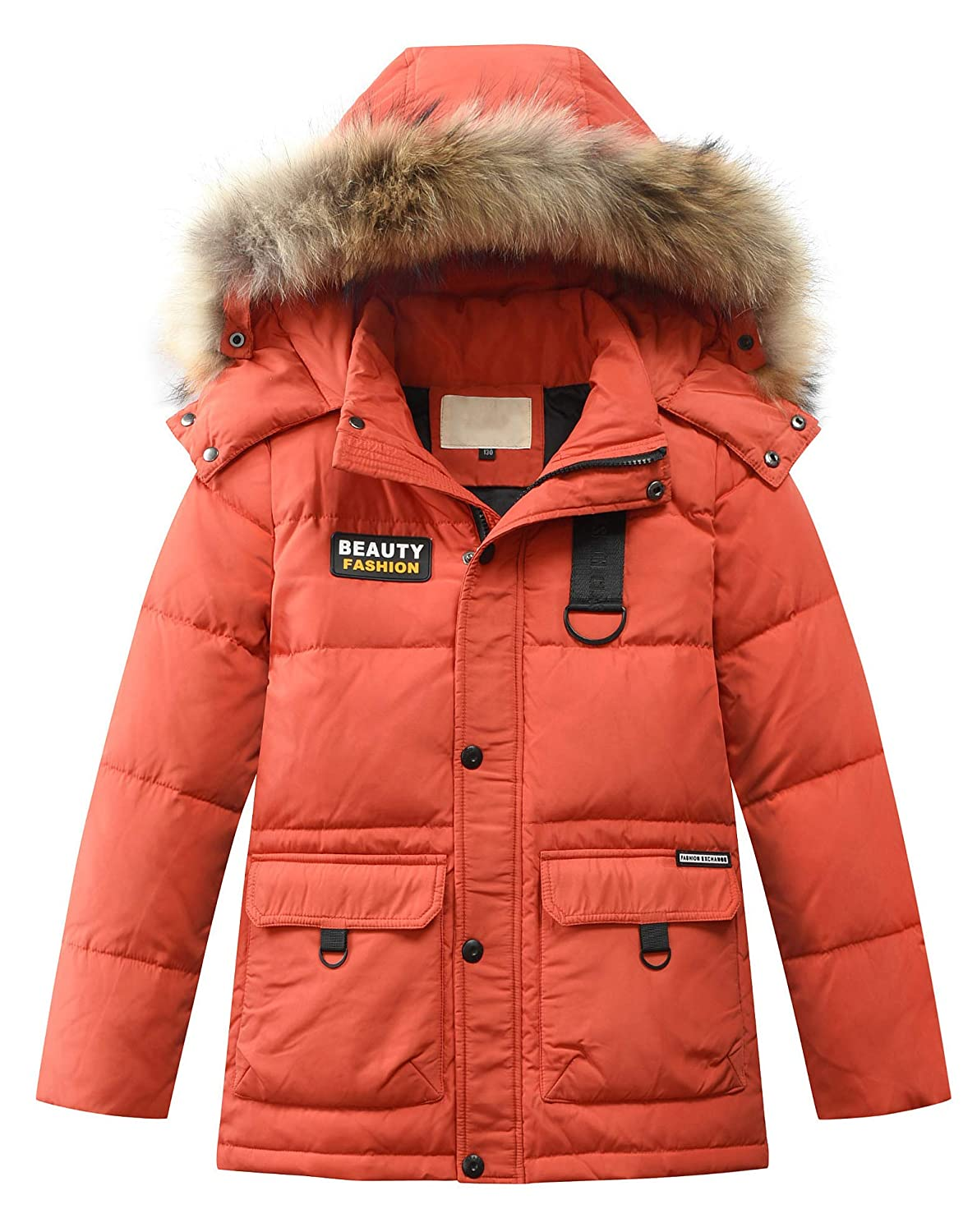 Boy Thick Winter Parka Mid Duck Down Puffer Padded Overcoat Hooded Jacket Coat JiaYou USNR021
