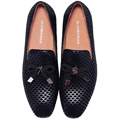 ELANROMAN Men's Dress Loafers Tassel Snakeskin Suede Leather Party Shoes   Loafers & Slip-Ons