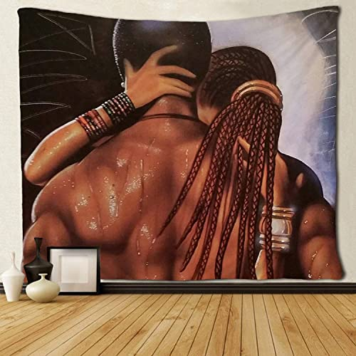 SARA NELL Tapestry African American Couple Lover Make Love Tapestries Hippie Art Black Art Wall Hanging Throw Tablecloth 60X90 Inches for Bedroom Living Room Dorm Room