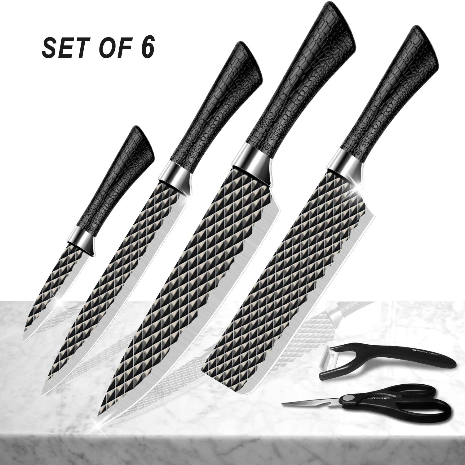 Alfheim Stainless Steel Six-Piece Kitchen Knives Set, Noble and Fashion FDA-grade Black Layer Diamond Pattern, Tight Grip and Comfortable Non-slip Hndle, Multifunctional Scissors and Peeler