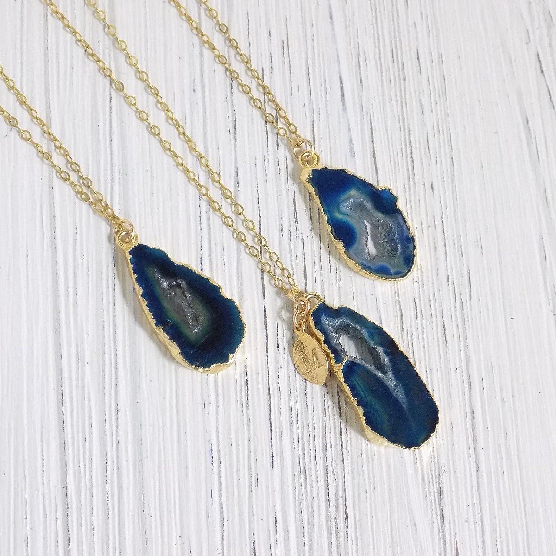 Mini Agate Druzy Geode Necklace