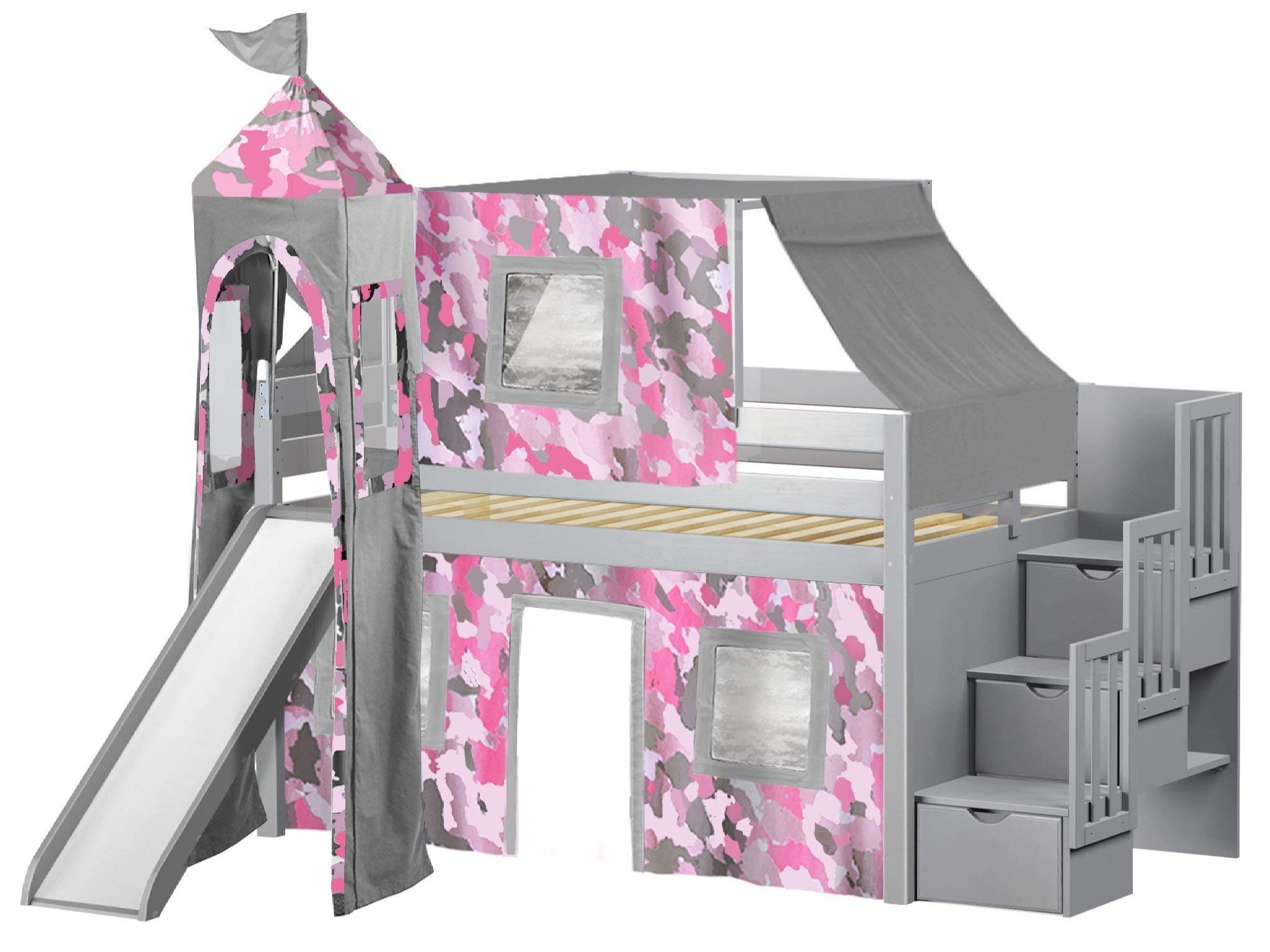 JACKPOT! Princess Low Loft Stairway Bed with Slide Pink Camo Tent and Tower, Loft Bed, Twin, Gray by JACKPOT!