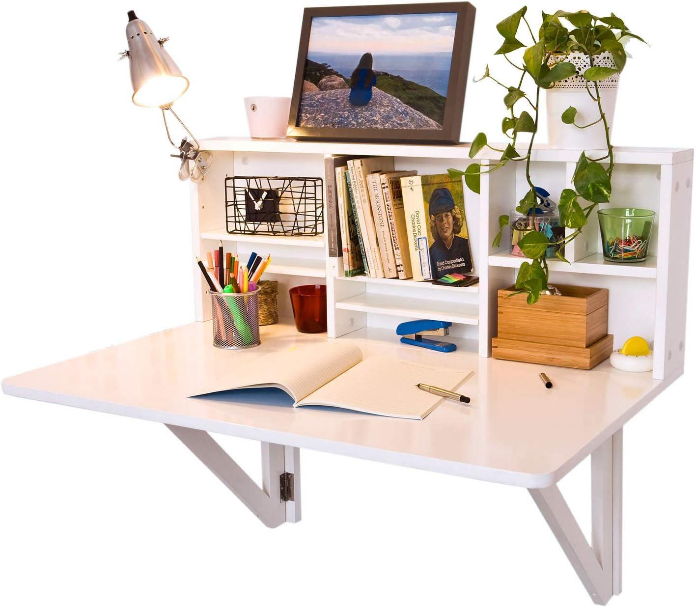 SoBuy Mesa plegable de pared con estante integrado, B90 x H36 x ...
