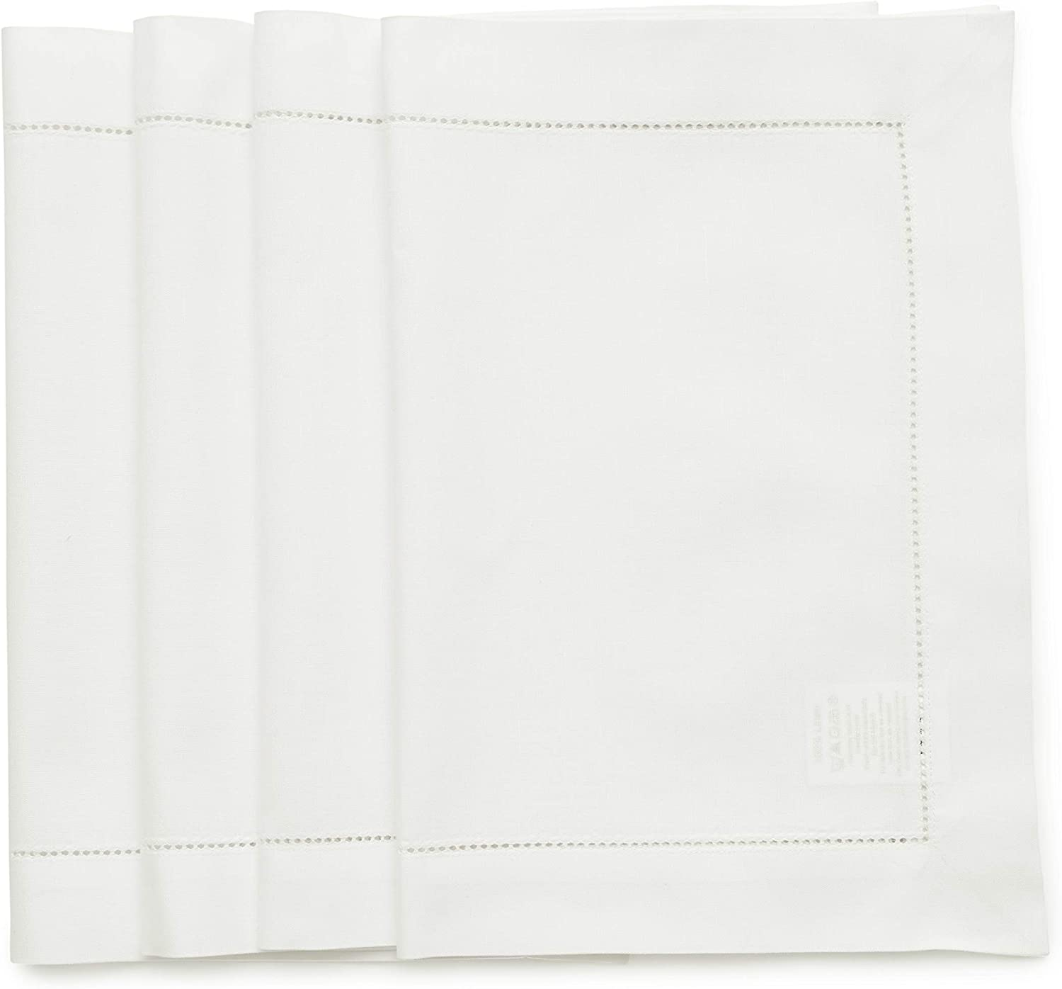 Solino Home Hemstitch Cotton Linen Placemats - 14 x 19 Inch, Set of 4 - Natural Fabric Machine Washable Placemats - Handcrafted with Mitered Corners - White