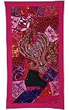 Murale décorative Designer Indien suspendu Tapisserie avec des paillettes Perles Graceful Miroirs, broderie Zari fil de soie & Patchwork Multicolore Sari Vieux, 147 x 46 cm