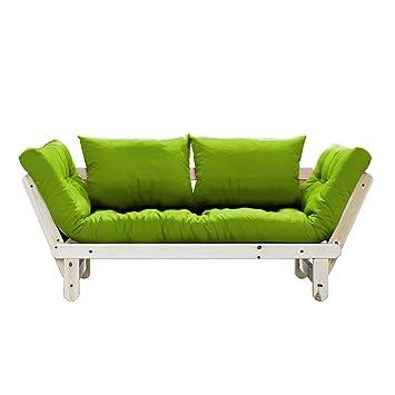 fresh futon beat convertible futon sofa bed natural frame lime rh amazon co uk
