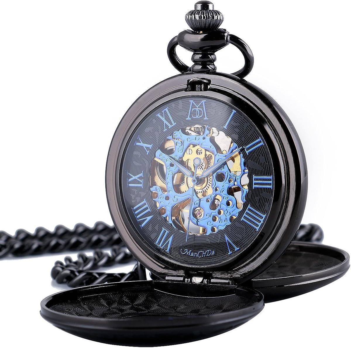Reloj de Bolsillo – Doble Grabado con Esfera Esqueleto ManChDa Retro para Hombre, Movimiento Dorado con Cadena + Caja de Regalo