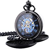 ManChDa Vintage Mechanical Pocket Watch Free Match Series with Cowboy Chain & EXTRA T-BAR Chain Skeleton Dial Delicate Movement for Men Women + Gift Box