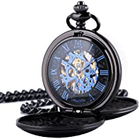 ManChDa Reloj de Bolsillo Hombre Mujer Relojes de Bolsillo con Cadena Relojes de Bolsillo mecánico Grabado Steampunk…