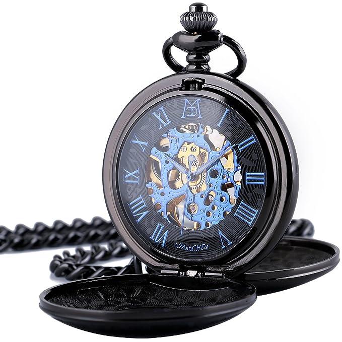 ManChDa® Retro Reloj de Bolsillo Doble Grabado Cazador Esfera Esqueleto mecánico Movimiento de Oro para los Hombres Mujeres con Cadena de Vaquero y la Cadena + Caja Regalo