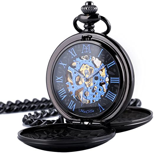 99abbfabe960b ManChDa® Classic Men s Smooth Engraved Pocket Watch Retro Dial Roman  Numerals Steampunk Skeleton Mechanical Delicate Movement with Chain + Gift  Box  ...