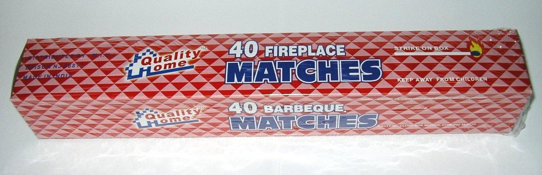 Fireplace Matches, 11'' Long, Box of 40